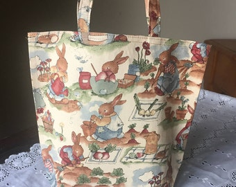 Handmade Fabric Gift Bag/Small Tote for Kids/Children or Adults: Easter Bunny Rabbits/Gardening
