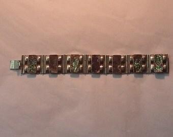Vintage Mexico Sterling Silver, Abalone Bracelet, Signed