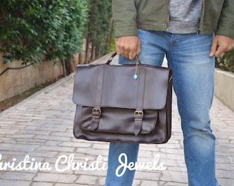 Leather Messenger Bag Men, 17'' Laptop Bag, Leather Briefcase Men, Laptop Briefcase, Handbag, Dark Brown Leather Bag, Made in Greece