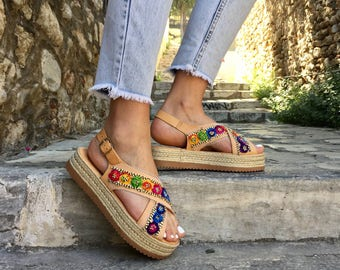 Leather Flatform Sandals, Leather Sandals, Flat Sandals, Platform Sandals, Comfortable Sandals made in Greece by Christina Christi Jewels.