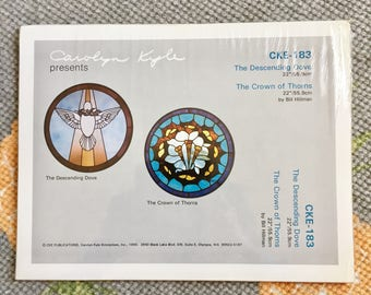 """New Carolyn Kyle CKE-183 Dove & Crown of Thorns 22"""" Stained Glass Patterns 1990 Sealed"""
