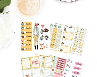 christmas planner sticker kit, fashion girl planner sticker kit, stickers for use with ERIN CONDREN LIFEPLANNER™ , happy planner, Sk015