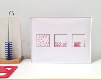 Circles in Squares – 8x10 Silk Screen Print
