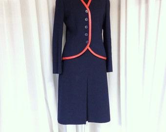 1960s suit/ 60s Jean Louis Scherrer boutique Blue wool suit/ couture dress designer suit 1970s 70s