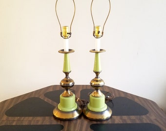 Lovely Mid Century Lamps | Avocado Green And Brass Table Lamp Pair | Retro Green  Bedside Light