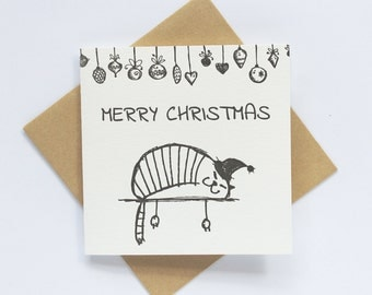 SALE to make way for new stock: Letterpress Merry Christmas Lazy Cat Greeting Card in Black