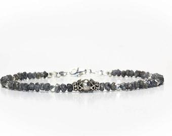 Andromeda Diamond Bracelet; Meteorite Bracelet, Raw Diamond Bracelet