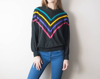 80s Vintage Striped Sweatshirt