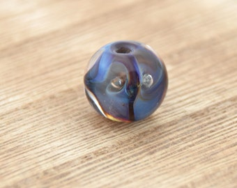 Handmade Blue Glass Lampwork Focal Bead. 14mmx12mm Navy Blue Brown Swirl Lampwork Bead.  Fancy Glass Bead for Necklaces or Bracelets.