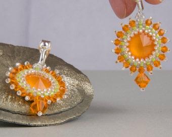 Orange, Orange clip earrings, Bohemian, gift, wedding, Christmas, white, beadwork, earrings, earrings, silver, boho hippie style,