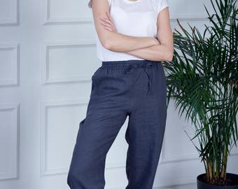 Drawstring Linen Pants With Pockets, Soft Washed Charcoal Linen Pants For Women, Linen trousers