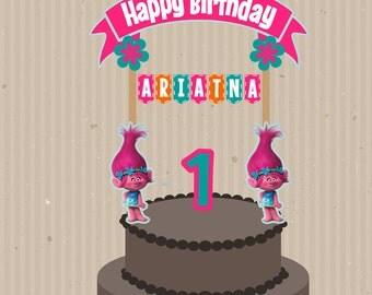 Trolls Cake Topper, Trolls Birthday, Trolls Party, Custom Cake Topper, Trolls Cake, Printable Cake Topper,, Trolls Banner