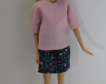 Barbie Doll Pink Top and Blue Mini Skirt