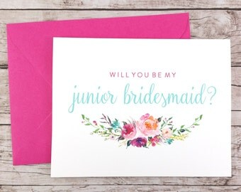 Will You Be My Junior Bridesmaid Card, Bridesmaid Proposal Card, Floral Bridesmaid Card, Wedding Card, Bridesmaid Gift - (FPS0021)