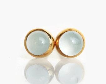 aquamarine earrings, gold aquamarine stud earrings, March birthstone, aquamarine jewelry, 4mm aquamarine stud earrings,  gemstone earrings