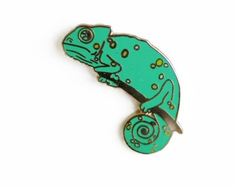 Chameleon Enamel Pin - Lizard Lapel Pin // Hard Enamel Pin, Cloisonné, Pin Badge