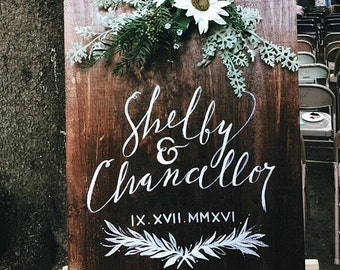 Wood Sign - Wedding Calligraphy
