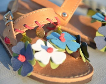 "Girls Sandals, Kids Sandals, Handmade Leather Girls Sandals ""Iris"""