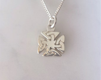 Celtic Iron Cross Necklace - Sterling Silver Celtic Pendant Necklace