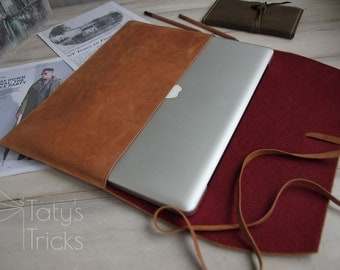 Leather Laptop Sleeve 15inch,Leather Macbook 15 inch Case,Leather Macbook 15 Sleeve,Macbook 15 Case,Leather Macbook Case