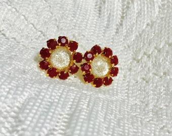 Gold and Burgundy Rhinestone Stud Earrings