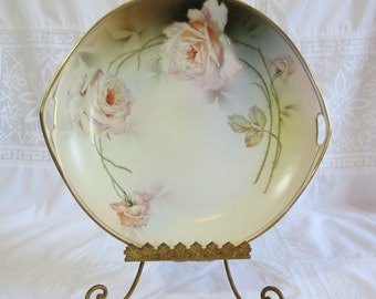 Gorgeous Antique Royal Rudolstadt Prussia Hand Painted Pink and White Rose Porcelain Cake Plate / Platter with Handles and Gilt Edging
