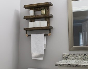 Wooden Bathroom Shelf Rustic Towel Rack