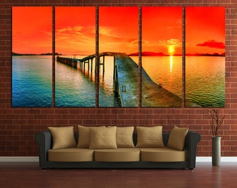 Large Wall Sunset Canvas  Great View  Multipanel Canvas Bridge Art Large Ocean 1-3-4-5 Set Panel Canvas Bridge