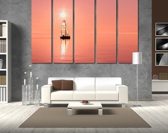 Large Wall Sailboat Canvas Color Sunrise Multipanel Canvas Sunrise  Art Large Sailboat 1-3-4-5 Panels Set Ocean Print