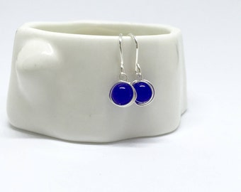 Sapphire earrings, 925 sterling silver sapphire earrings, natural sapphire earrings, real sapphire earrings, 925 silver and sapphire