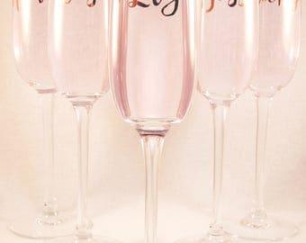 Personalised Horizontal Name Premium Champagne Flute