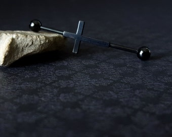 Black Cross Industrial Barbell (14G)