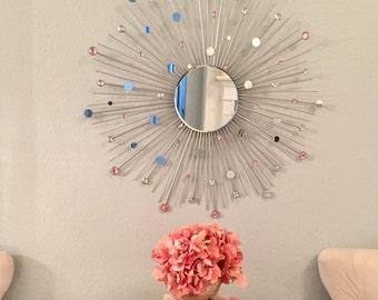 """30"""" Pink Gems Sunburst Mirror"""