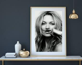 Kate Moss poster, Kate Moss print, Kate Moss moustache , Fashion poster, fashion wall art, fashion print, Woman Print, fashion photography