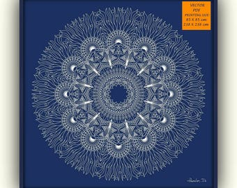 Navy blue mandala, Blue mandala, Printable mandala, Mandala wallpaper , Large mandala print, Digital download mandala, Vector mandala
