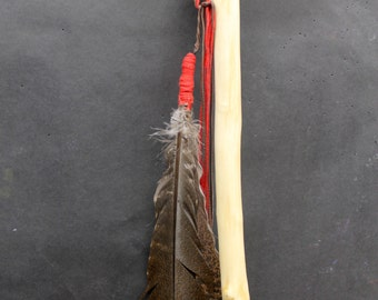 Ash and White tail deer antler cane w/Wolf track carving and Turkey feather (C1)