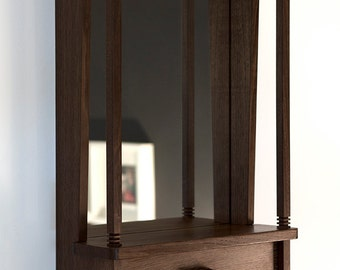 NOOK mirror shelf & cabinet ~ dark