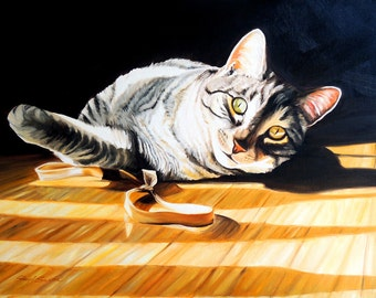 "Cat print,  11x14 inch print from original oil painting ""Sunbather"" by Sheryl Sawchuk"