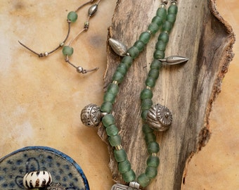 One of a kind recycled/upcycled bead necklace