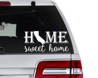 State Decals - Home State Decals - Home Sweet Home State Decal - State Pride Decals - Home State Sticker - State Love Decals - State Vinyl