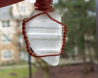 Natural Sea Glass Pendant Necklace, Wire Wrapped, Handmade, Unique