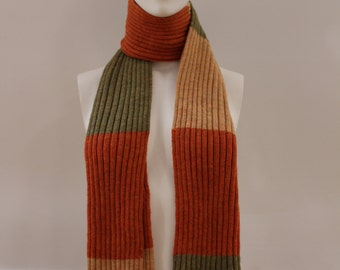 Block Patterned Scarf (Orange/Green/Apricot)