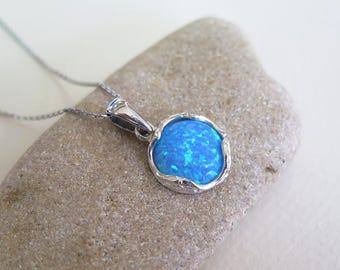 Opal necklace - silver Opal necklace - Opal Silver necklace - Blue Opal necklace - silver necklace - Opal Pendant - Blue Opal Pendant