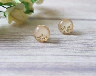 Champagne bridesmaid earrings, Champagne earrings, Champagne bridal shower gift, Bridal earrings, Gold leaf earrings, Beige and gold earring
