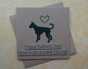 Great Dane Mother's Day card, Handmade Great Dane card, Mothering Sunday card, Funny birthday card, Setter, West Highland Terrier, Schnauzer