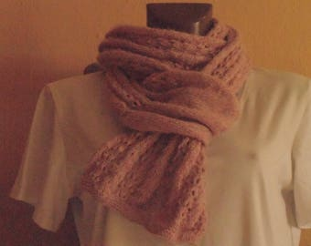 Pink and cream wool Cap + scarf set