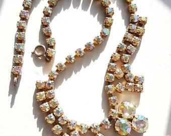 Vintage 1950s AB necklace - aurora borealis chatons, pretty little bib shape - super sparkling vintage necklace from the 1950s or 60s.