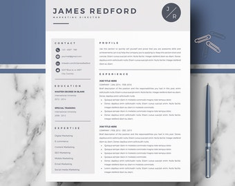 Professional Resume Template   Resume, CV Templates for Ms Word and Pages   Resume + Cover Letter + Resume Writing guide   Instant Download