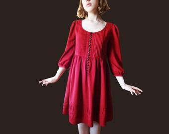 Vintage burgundy smock dress, 1970 burgundy dress, smock dress, red dress, 70s red dress, medieval style dress, red smock dress XS S M size