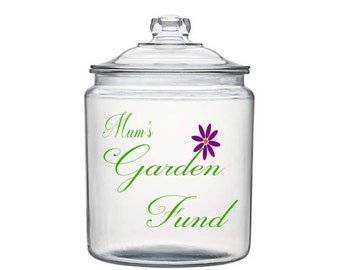 Personalised Garden Fund Jar decal Fee P&P